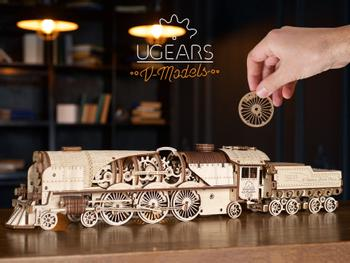 Ugears 3D Puzzle V-Express Steam Train Dampflok