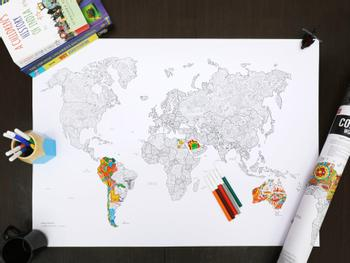 Ausmal-Poster Weltkarte